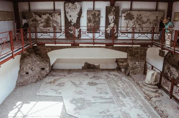Одна из главных напольных мозаик в музее