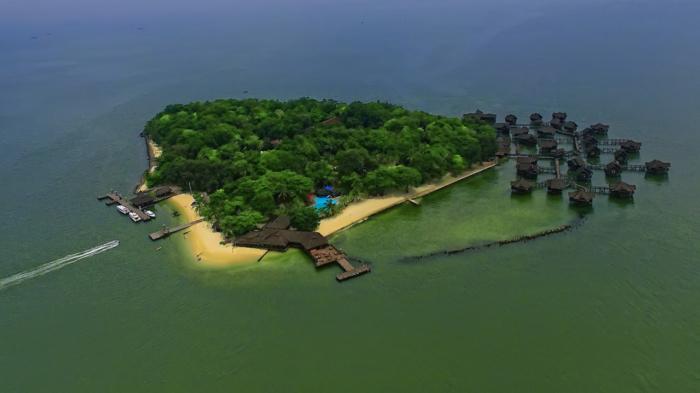 Вид на необычный округ тысячи островов с высоты птичьего полета