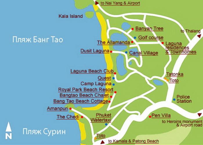 Карта Пхукета с расположением Банг Тао Бич