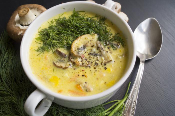 Суп-пюре с шампиньонами и плавленным сыром