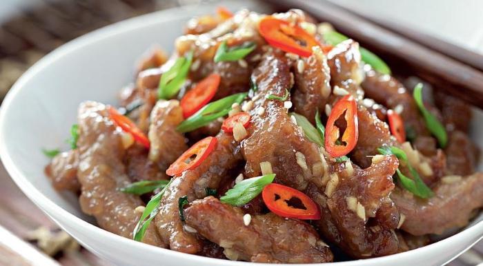 Аппетитное китайское блюдо с имбирем и болгарским перцем