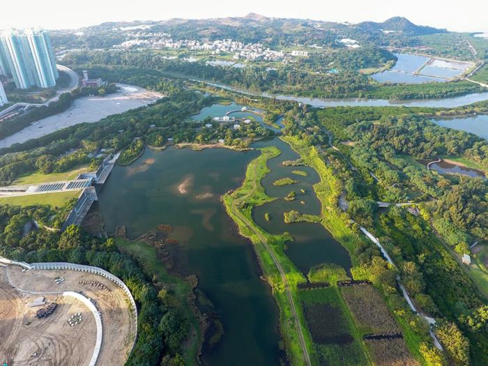 Обзор гонконгского парка водно-болотных угодий свысока
