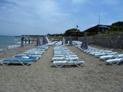 Собственный пляж отеля Millennium Palace Hotel с шезлонгами
